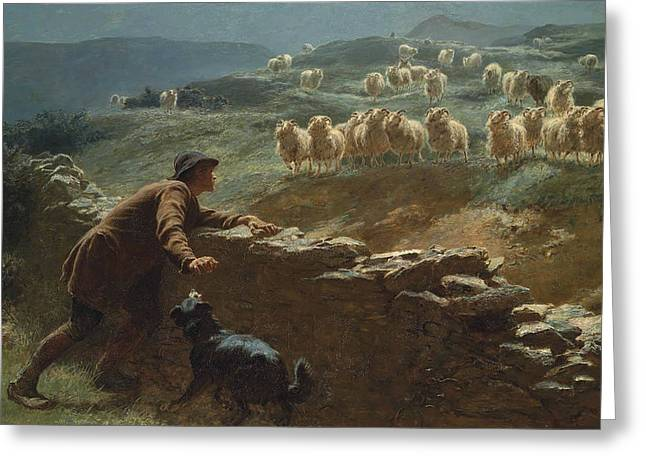 Briton Greeting Cards - The sheepstealer Greeting Card by Briton Riviere