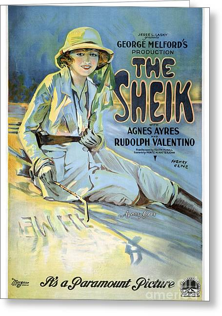 Rudolph Greeting Cards - The Sheik with Agnes Ayres and Rudolph Valentino - movie poster - 1921 Greeting Card by Pablo Romero