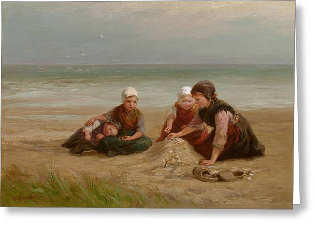 Gatherers Greeting Cards - The Shell-gatherers Greeting Card by Edith Hume