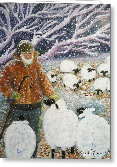 Grazing Snow Paintings Greeting Cards - The Shepherd Greeting Card by Deborah Burow
