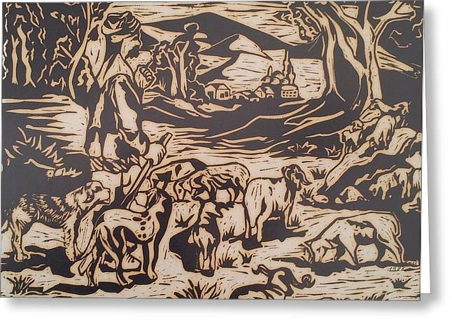 Linoleum Block Print Reliefs Greeting Cards - The Shepherd Greeting Card by Emel Yigitoglu