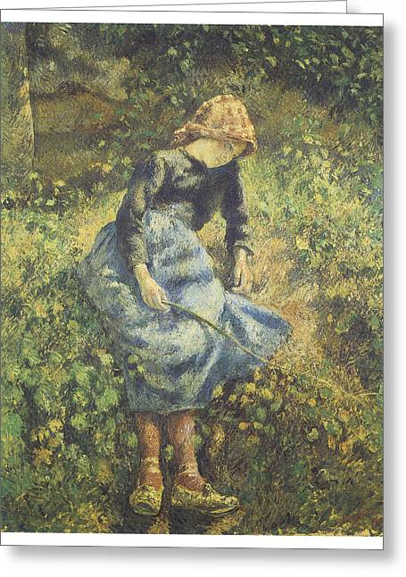 The Young Shepherdess Greeting Cards - The Shepherdess Greeting Card by Camille Pissarro