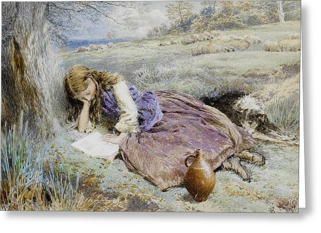 Dogie Greeting Cards - The Shepherdess Greeting Card by Myles Birket Foster