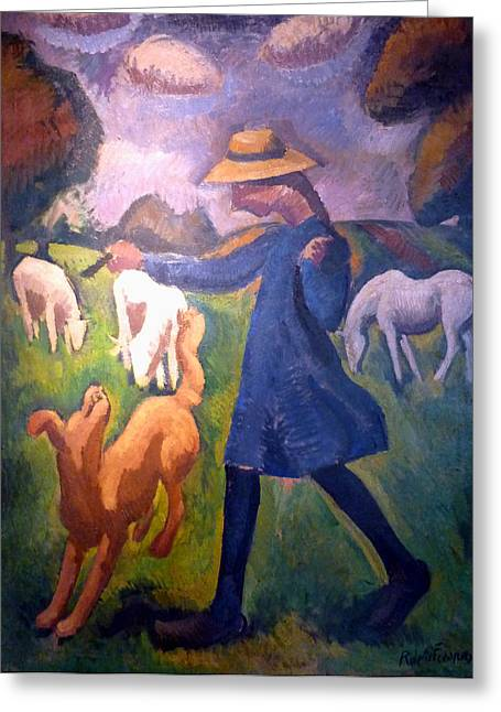 The Young Shepherdess Greeting Cards - The Shepherdess Greeting Card by Roger de La Fresnaye