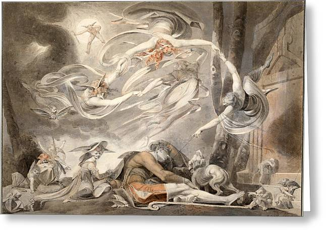 Henry Fuseli Greeting Cards - The Shepherds Dream Greeting Card by Henry Fuseli