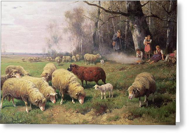 Camps Greeting Cards - The Shepherds Family Greeting Card by Adolf Ernst Meissner