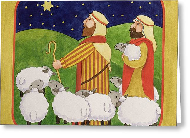 Recently Sold -  - Star Of Bethlehem Greeting Cards - The Shepherds Greeting Card by Linda Benton