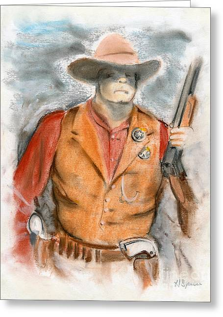 Shootist Greeting Cards - The Sheriff Greeting Card by Harry Speese