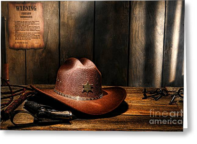 Desk Greeting Cards - The Sheriff Office Greeting Card by Olivier Le Queinec