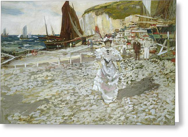 Boats At Dock Greeting Cards - The Shingle Beach Greeting Card by James Kay