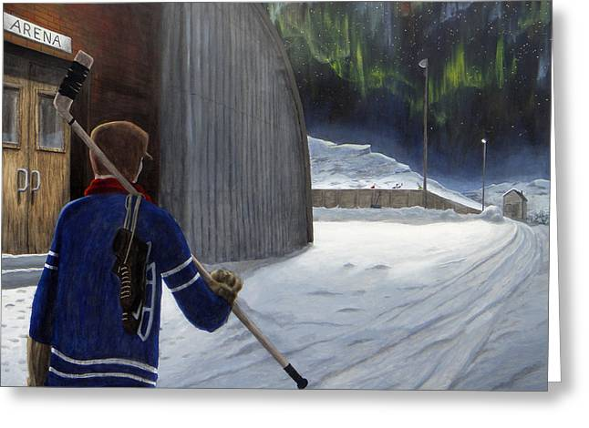 Hockey Paintings Greeting Cards - The Shinny Player Greeting Card by Dave Rheaume
