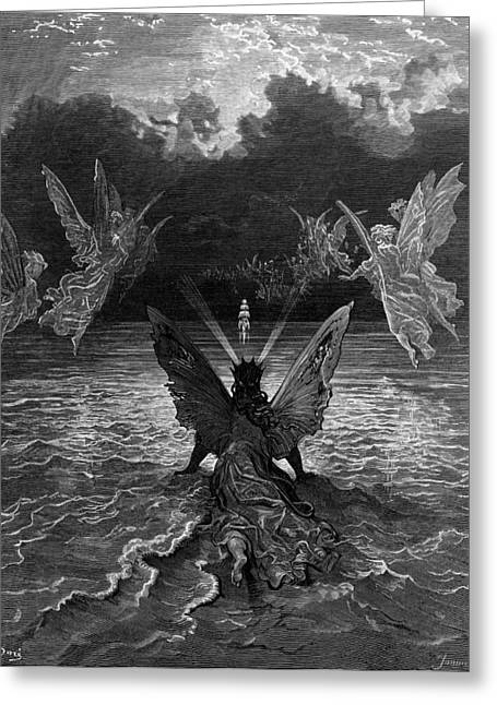 Ghostly Greeting Cards - The ship continues to sail miraculously moved by a troupe of angelic spirits Greeting Card by Gustave Dore