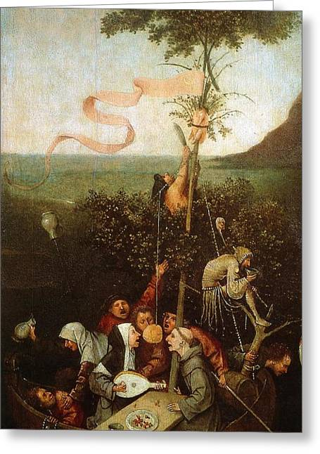 Moral Greeting Cards - The Ship of Fools Greeting Card by Hieronymus Bosch