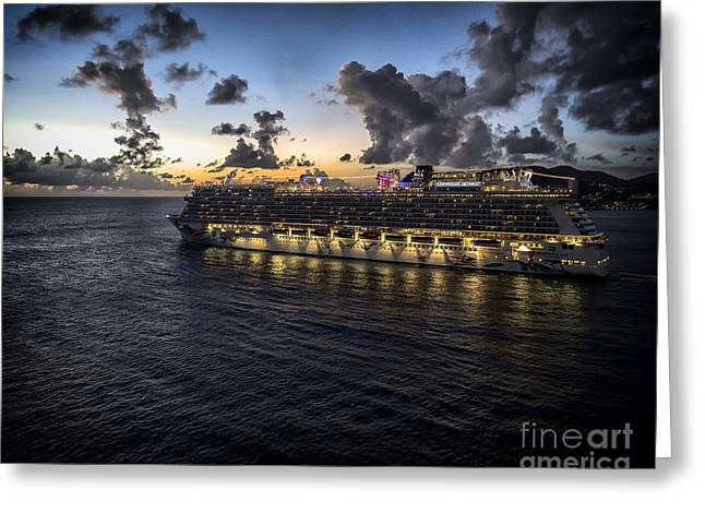 Norwegian Sunset Photographs Greeting Cards - The Ship Greeting Card by Phil Pantano