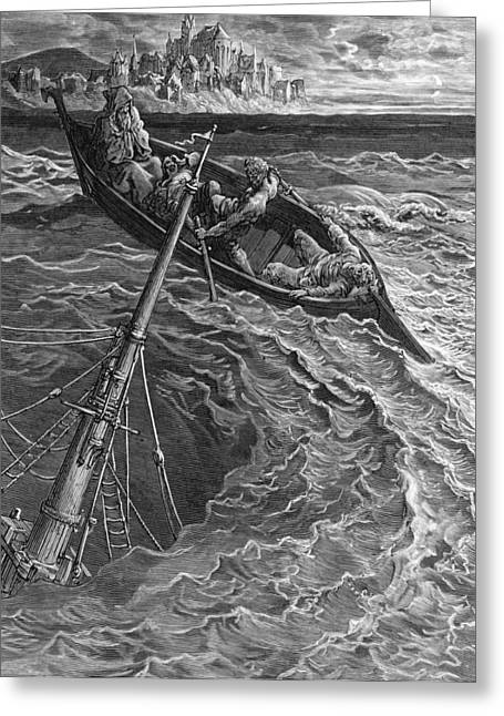 Voyage Drawings Greeting Cards - The ship sinks but the Mariner is rescued by the Pilot and Hermit Greeting Card by Gustave Dore
