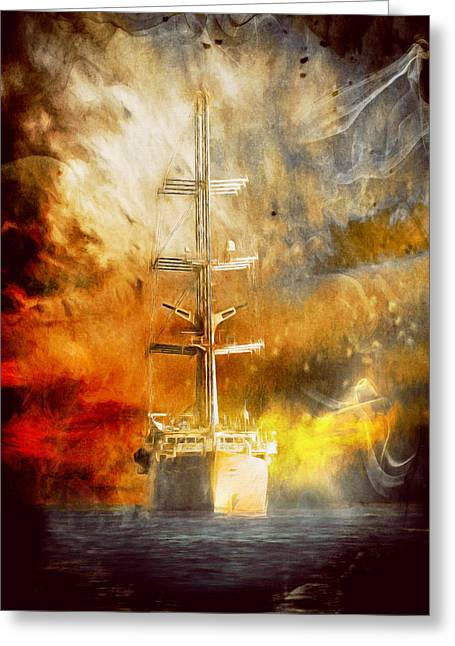 Tall Ships Mixed Media Greeting Cards - The Ship That Came Home Greeting Card by Georgiana Romanovna
