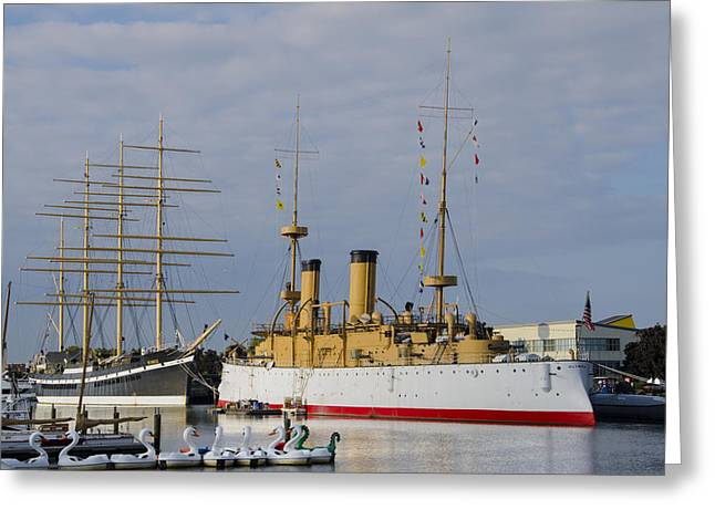 The Ships At Penns Landing Greeting Card by Bill Cannon