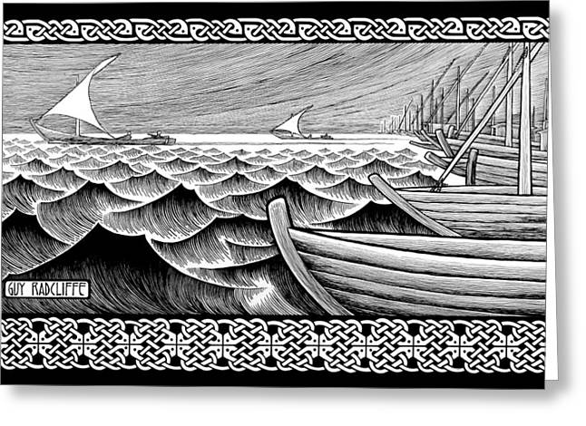 Wooden Ship Drawings Greeting Cards - The Ships of Tarshish Greeting Card by Guy Radcliffe