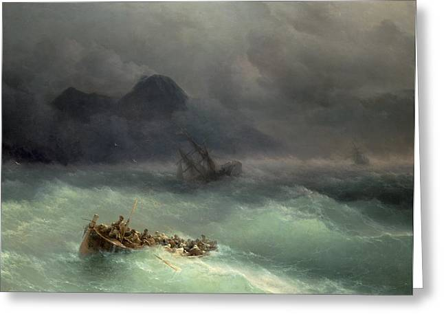 Swell Greeting Cards - The Shipwreck Greeting Card by Ivan Konstantinovich Aivazovsky