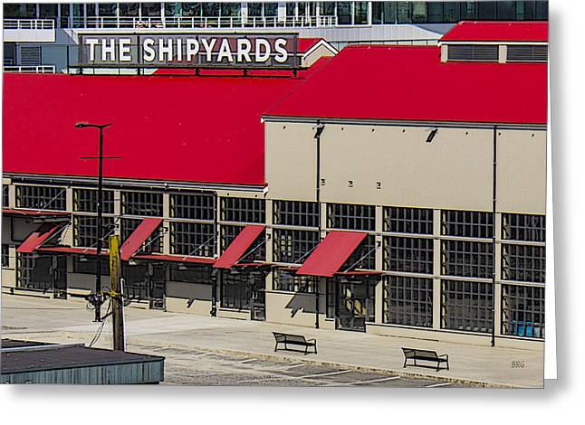 Geometric Digital Art Photographs Greeting Cards - The Shipyards In Vancouver Greeting Card by Ben and Raisa Gertsberg
