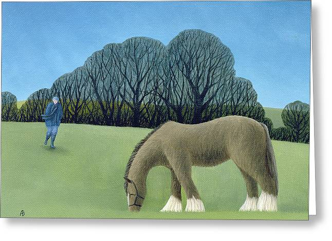 Rural Greeting Cards - The Shire Horse, 2006 Oil On Canvas Greeting Card by Ann Brain