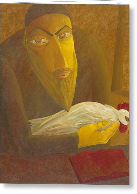 American Painters Greeting Cards - The Shochet with Rooster Greeting Card by Israel Tsvaygenbaum