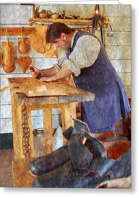 Color Enhanced Mixed Media Greeting Cards - The Shoe Cobbler Greeting Card by Bob Pardue