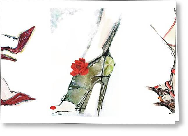Fashionista Greeting Cards - The Shoe Fashionista 2 Greeting Card by Carolyn Weltman