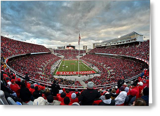 Buckeyes Greeting Cards - The Shoe Greeting Card by Ryan Johnson