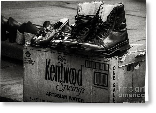 Cardboard Greeting Cards - The Shoeshine Mans Shoes Greeting Card by Kathleen K Parker