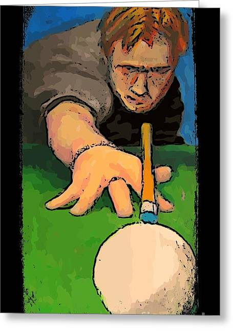 Billards Greeting Cards - The Shooter Greeting Card by John Malone Halifax graphic art