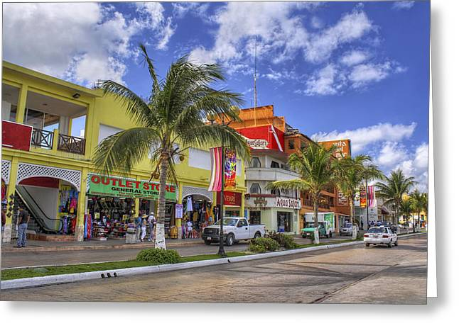 Jmpolitte Greeting Cards - The Shops of Cozumel Greeting Card by Jason Politte