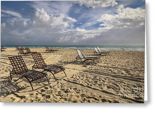 Empty Chairs Greeting Cards - The Shores Of An Infinite Imagination Greeting Card by Evelina Kremsdorf