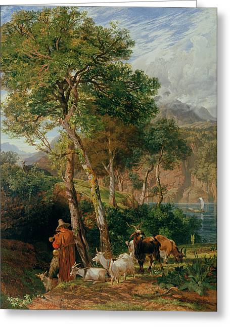 Northern Italy Greeting Cards - The Shores Of Lake Lecco Greeting Card by Frederick Lee Bridell