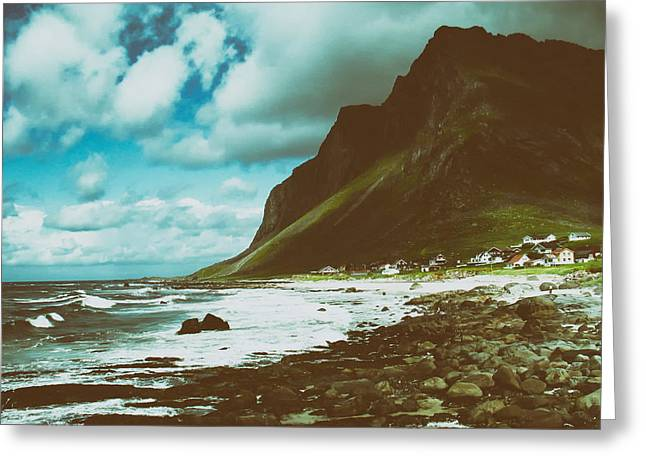 Norway Village Greeting Cards - The Shores of Norway Greeting Card by Mountain Dreams