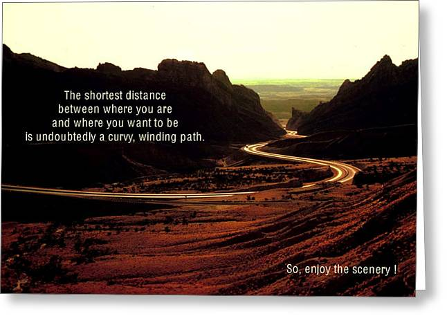 Go With The Flow Greeting Cards - The Shortest Distance Greeting Card by Mike Flynn