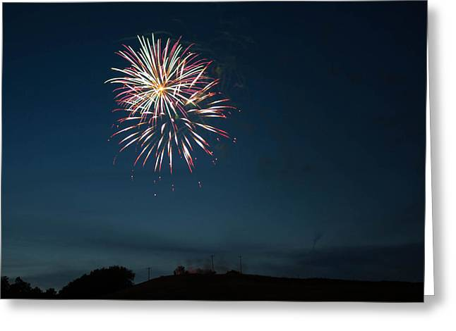 Pyrotechnics Greeting Cards - West Virginia Day Fireworks Show Begins Greeting Card by Howard Tenke