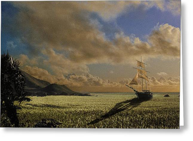 Unrealistic Greeting Cards - The Shrike of Hyperion at the Sea of Grass Greeting Card by Nathan Spotts