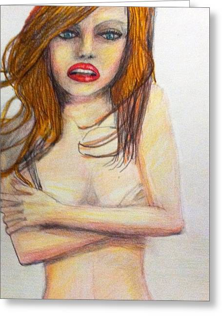 Native American Nude Woman Greeting Cards - Low brow shy girl Greeting Card by Larry Lamb