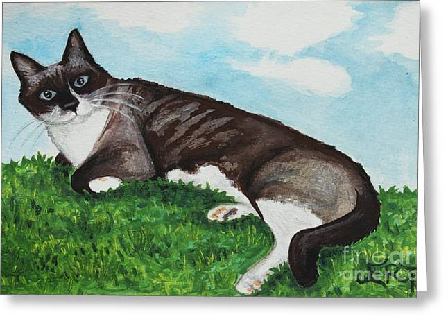 Whimsical. Greeting Cards - The Siamese Cat Greeting Card by Elizabeth Robinette Tyndall