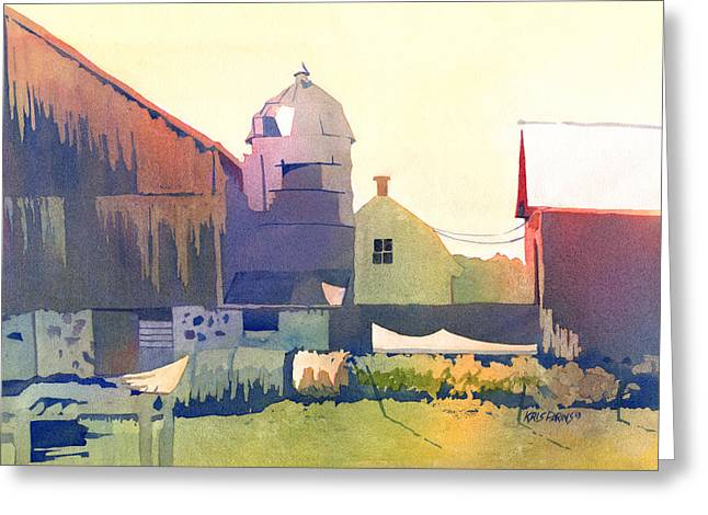 Outbuildings Paintings Greeting Cards - The Side of a Barn Greeting Card by Kris Parins