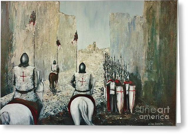 Medieval Entrance Paintings Greeting Cards - The Siege of Ascalon Greeting Card by Kaye Miller-Dewing
