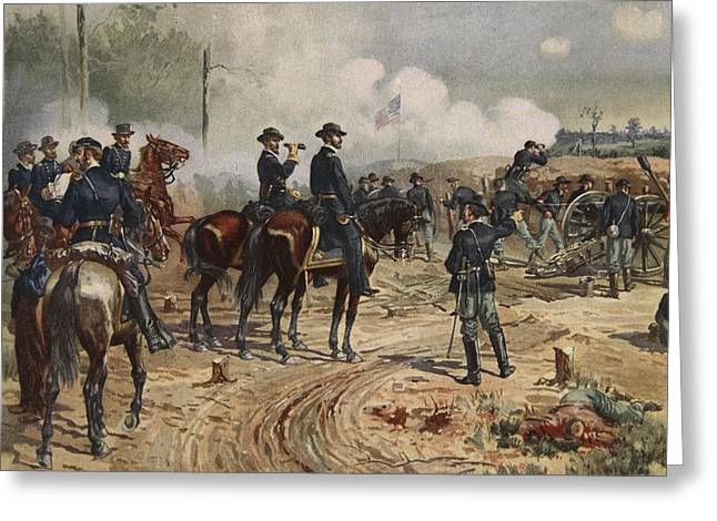 Cannon Drawings Greeting Cards - The Siege Of Atlanta, July Greeting Card by Henry Alexander Ogden