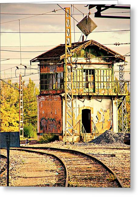 Signalbox Greeting Cards - The Old Signal Box Greeting Card by Mike Marsden