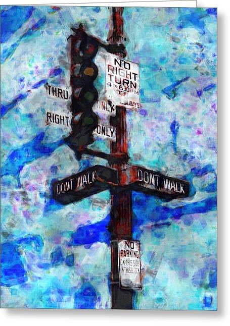 Traffic Control Greeting Cards - The Signal Greeting Card by Jack Zulli