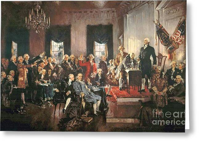 Politicians Paintings Greeting Cards - The Signing of the Constitution of the United States in 1787 Greeting Card by Howard Chandler Christy