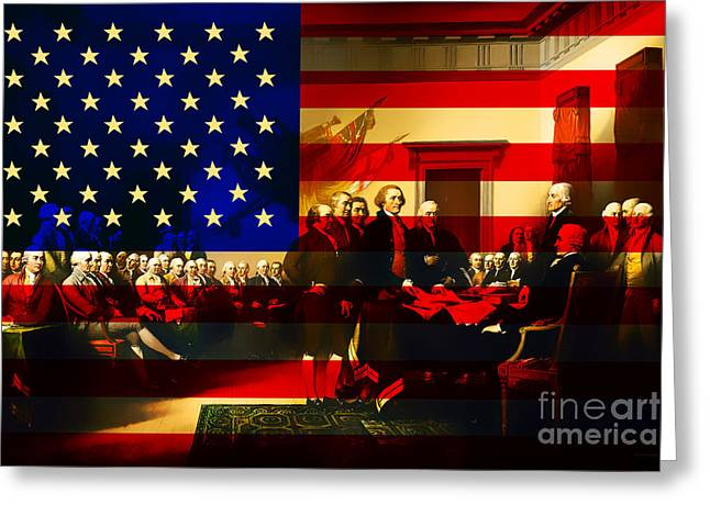 Signature Digital Art Greeting Cards - The Signing of The United States Declaration of Independence and Old Glory 20131220 Greeting Card by Wingsdomain Art and Photography