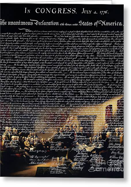 Signature Digital Art Greeting Cards - The Signing of The United States Declaration of Independence v2 Greeting Card by Wingsdomain Art and Photography