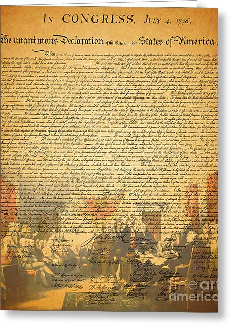 Signature Digital Art Greeting Cards - The Signing of The United States Declaration of Independence Greeting Card by Wingsdomain Art and Photography