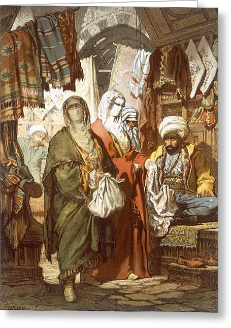 Marketplace Greeting Cards - The Silk Bazaar, 1865 Greeting Card by Amadeo Preziosi
